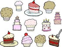 De Tekeningen van Cupcake en van de Cake Stock Foto's