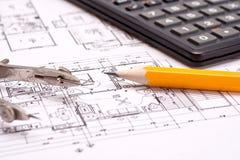 De tekeningen van de techniek en van de architectuur stock fotografie