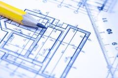 De tekeningen van de techniek en van de architectuur Stock Afbeeldingen
