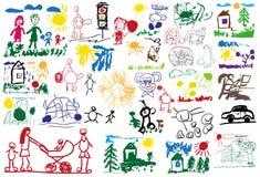De tekeningen van gestileerde kinderen Stock Afbeelding