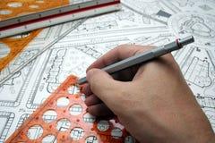 De tekeningen van het plan Stock Foto