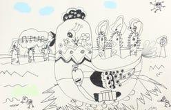 De tekeningen van kinderen Stock Fotografie
