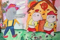 De tekeningen van kinderen Stock Afbeeldingen