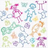 De tekeningen van kinderen. Naadloze achtergrond. Stock Afbeelding