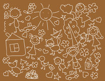 De tekeningen van kinderen, vector Stock Afbeeldingen