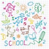 De tekeningen van kinderen. Vector achtergrond. Stock Foto