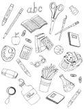 De tekeningen van schoolpictogrammen Stock Fotografie