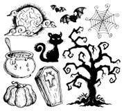 De tekeningeninzameling 2 van Halloween Stock Afbeelding