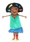 De tekenings gelukkig mamma van kinderen met bloem in uw haren Stock Fotografie