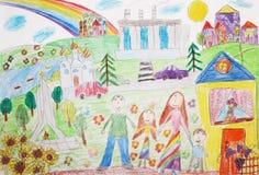 De tekenings gelukkige familie van het kind met twee kinderen voor een gang Stock Afbeeldingen