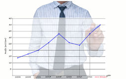 De tekenings stijgende grafiek van de zakenman Royalty-vrije Stock Afbeelding