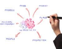 De tekenings van de bedrijfs vrouw proces, marketing mengeling Royalty-vrije Stock Afbeeldingen