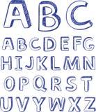 De tekeningsalfabet van de hand. vector voor ontwerp Royalty-vrije Stock Fotografie