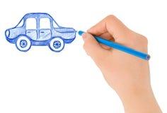 De tekeningsauto van de hand Royalty-vrije Stock Foto