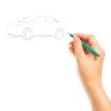 De tekeningsauto van de hand Stock Foto