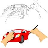 De tekeningsauto van de hand Stock Afbeeldingen
