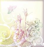 De tekeningsbloem van de hand Stock Foto