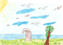 De tekeningsbrug van kinderen over de riviervogels die op de hemelboom en een gebied met bloemen vliegen Stock Fotografie