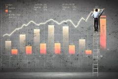 De tekeningsdiagram van de zakenman stock foto's