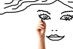 De tekeningsgezicht van de hand van mooie vrouw Stock Afbeelding
