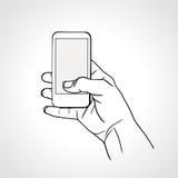De tekeningshand van de lijnkunst met mobiele telefoon Stock Afbeeldingen