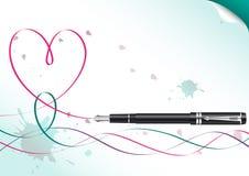 De tekeningshart van de pen Stock Fotografie