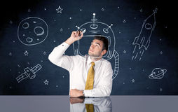 De tekeningshelm van de verkooppersoon en ruimteraket Royalty-vrije Stock Fotografie