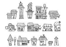 De tekeningshuizen van het beeldverhaal vectorsprookje Stock Afbeeldingen