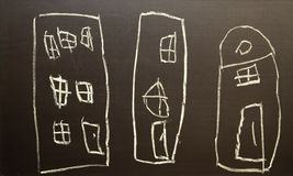 De tekeningshuizen van kinderen vector illustratie