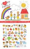 De tekeningsillustratie van de kindhand van gelukkige familie Stock Fotografie