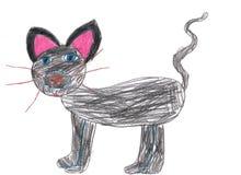 De tekeningskat van kinderen, katje Royalty-vrije Stock Afbeeldingen
