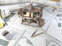 De tekeningslijst van de architect met sectiemodel Stock Foto's