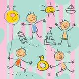 De tekeningsreeks van kinderen Royalty-vrije Stock Afbeeldingen