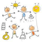 De tekeningsreeks van kinderen Stock Fotografie