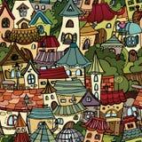 De tekeningsstad van het beeldverhaal vectorsprookje Royalty-vrije Stock Fotografie