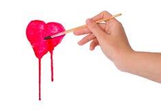 De tekeningsvorm van de hand van hart Stock Afbeelding