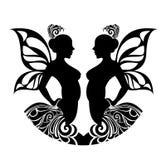 De tekens van de dierenriem - Tweeling. Het ontwerp van de tatoegering. Royalty-vrije Stock Afbeeldingen
