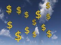 De tekens van de dollar voor bewolkte hemel Stock Illustratie