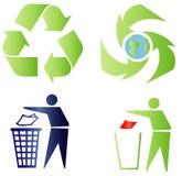 De tekens van de ecologie en van het recycling Stock Fotografie