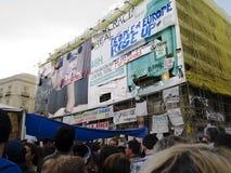 De tekens van de eis in Madrid tijdens Spaanse Revolutio Stock Fotografie