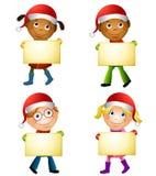 De Tekens van de Holding van de Jonge geitjes van Kerstmis Royalty-vrije Stock Foto's