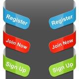 De tekens van de linkerzijde en van de rechterkant - het Register, treedt nu toe Stock Afbeelding
