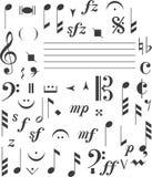 De tekens van de muziek Stock Afbeeldingen