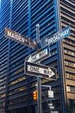 De tekens van de straatnaam in Manhattan, NYC Royalty-vrije Stock Afbeeldingen