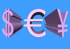De tekens van de volumedollar van de V.S., eurocurrency en de Japanse Yen van Stock Foto's