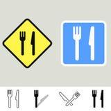 De tekens van de vork en van het mes Stock Foto