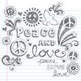 De Tekens van de vrede & houden van de Schetsmatige Vector van Krabbels Stock Foto