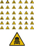 De tekens van de waarschuwing en van de veiligheid Stock Afbeeldingen