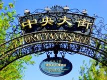 De tekens van de Zhongyangstraat Stock Afbeeldingen