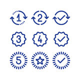 De tekens van garantiejaren, de periode van de waarborgdienst, goedgekeurd teken, lijnpictogrammen royalty-vrije illustratie